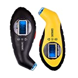 SAFELIFE 2 Pack Digital Tire Pressure Gauge 100 PSI 4 Settings with Backlit LCD and Non-Slip Grip