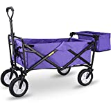 WHITSUNDAY Collapsible Folding Garden Outdoor Park Utility Wagon Picnic Camping Cart 8' Wheels with Rear Storage (Standard Size with Rear Storage, Purple)