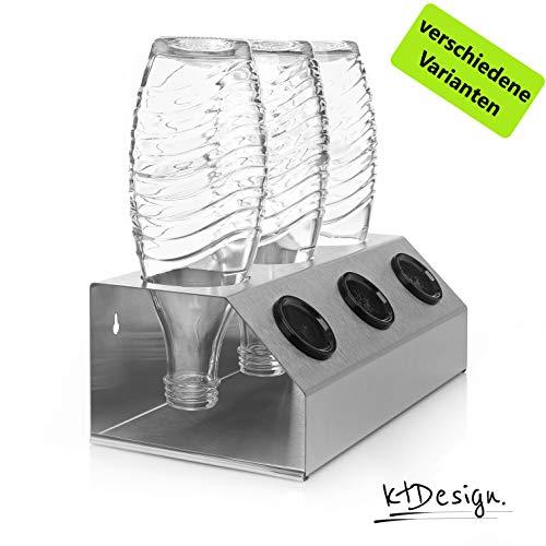 ktDesign Premium SodaStream Abtropfhalter aus Edelstahl für 3 Flaschen – SodaStream Flaschenhalter mit Abtropfboden und Deckelhalterung für SodaStream Crystal, Emil- und Glasflaschen, Made in Germany