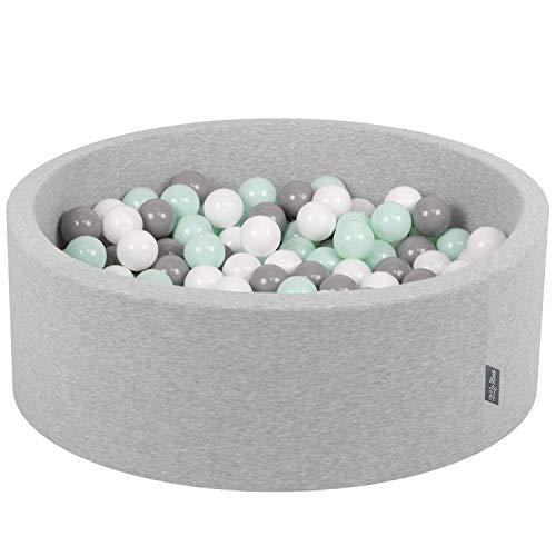 KiddyMoon Bällebad 90X30cm/200 Bälle ∅ 7Cm Bällepool Mit Bunten Bällen Für Babys Kinder Rund, Hellgrau:Weiß/Grau/Minze
