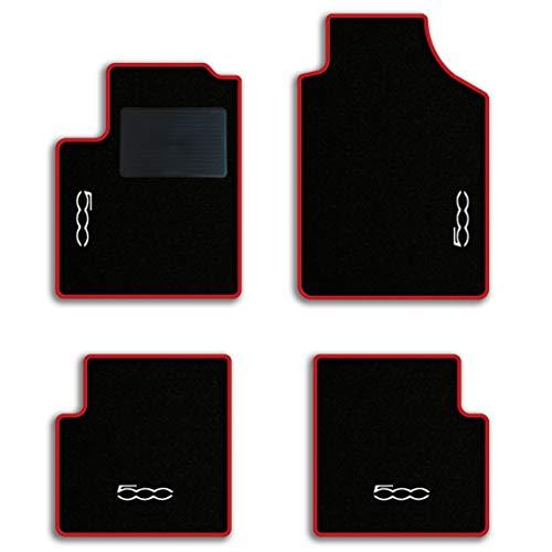 QUEMAR Kit Tappetini Auto Fiat 500 dal 2007 / Set di Tappeti in Moquette e Gomma su Misura (2 Anteriori + 2 Posteriori) / 4 Ricami Personalizzati/Colori Personalizzabili (Bordo Rosso)