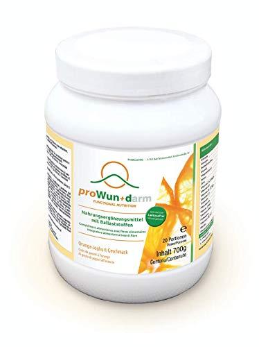 proWun+darm 700g, Nahrungsergänzungsmittel mit Ballaststoffen, Haferfaser, L-Arginin, L-Glutamin, Vitamine A+B+C+D+E, Magnesium, Selen, Zink, laktosefrei, Orange-Joghurt-Geschmack, Dose mit Pulver, 20 Portionen (1 Dose, 700g Pulver)