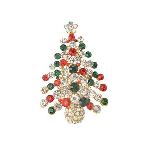 Diamond Found Broche De Noël Broche 1pcs Broche De Noël Strass Cristal Broche Broche en Épingle À La Main Partie Bijoux Vêtements Accessoires Cadeau De Noël (Multicolor Tree-1pcs)