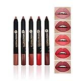 Juego de lápiz labial mate de 5 colores, Kiogyek lipstick de terciopelo...