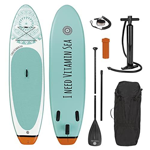 EASYmaxx - MAXXMEE Stand-Up Paddle-Board 'I Need Vitamin Sea' | incl. Borsa da Trasporto, Kit di Riparazione e Pompa ad Aria, con Pratica Maniglia per Il Trasporto | qualità Premium