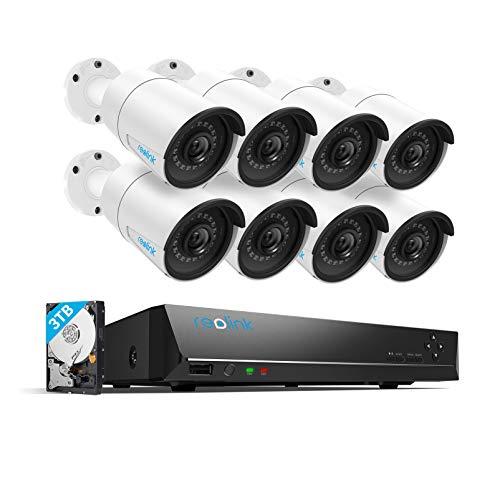 Reolink 16CH 4MP Kit Videosorveglianza Esterno IP PoE, 8x4MP Telecamera Esterno IP PoE, 16CH PoE NVR con HDD da 3TB, Sistema di Sorveglianza con Visione Notturna e Registrazione 24/7, RLK16-410B8
