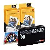 Kodak Mini 2, stampante portatile Bluetooth, stampante fotografica di piccole 54 x 86 mm, 68 fogli, connessione wireless, compatibile con smartphone iOS e Android - Nera