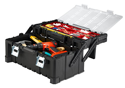 Product Image 1: KETER 22 Inch Cantilever Plastic Portable Tool Box Organizer with Metal Latches for Small Parts, Hardware and Tool Storage and Organization