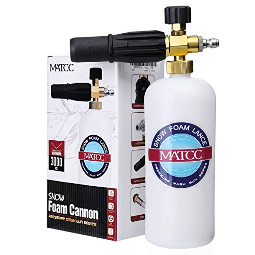 MATCC Foam Cannon II Foam Nozzle Pressure Washer Jet Wash with 1/4' Quick Connector Foam Blaster 0.22 Gallon Bottle Improved Snow Foam Lance