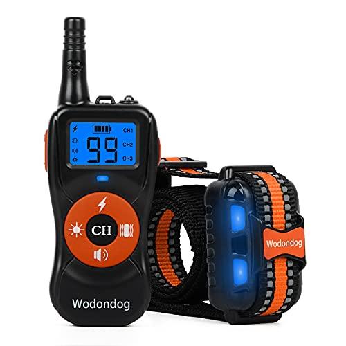 Wodondog Collar de Adiestramiento para Perros Recargable y Resistente...