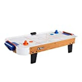 Rally and Roar AWH040_018P Tabletop Air Hockey Table, Travel-Size, Lightweight, Plug-in - Mini Air-Powered Hockey Set with 2 Pucks, 2 Pushers, LED Score Tracker - Fun Arcade Games and Accessories