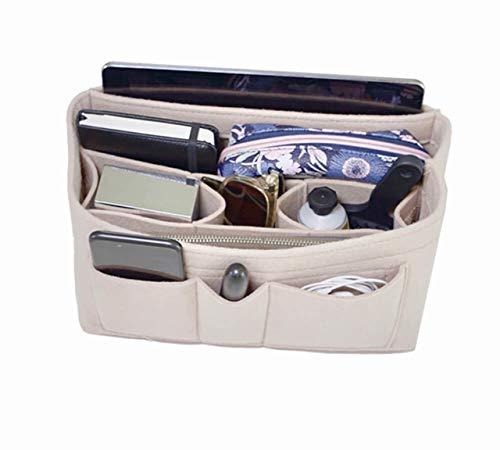 Handbag Organizer - 2in1 felt, purse organizer insert with inner zipped pocket