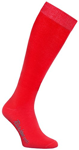 Rainbow Socks - Donna Uomo Colorate Calzini Lunghi Al Ginocchio di Cotone - 1 Paia - Rojo - Tamao...