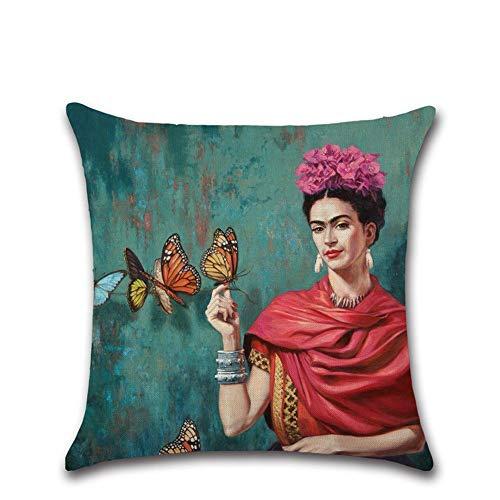 Fundas de cojín de Lino, diseño de autorretrato de la pintora Mexicana Frida Kahlo, Cuadrada, de algodón, para sofás y Camas de Salones y Habitaciones, 45 x 45 cm, decoración del hogar