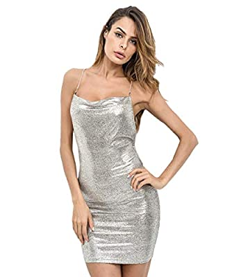 """Composition: 97% Polyester, 3% Spandex Fabric has some stretch, metallic, soft Sleeveless, backless,slim, fitted bodycon spaghetti strap dress Style: sexy, suit for party wear, club wear, night out. Model Measurement: Height: 175cm/5'8"""", Bust: 85cm/3..."""