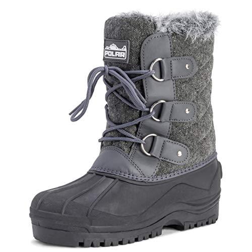 POLAR Womens Mid Calf Mountain Walking Tactical Waterproof Boots - Gray Textile - US9/EU40 - YC0369