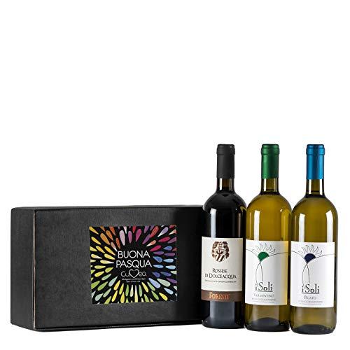 Cesto pasquale - Confezione Vini Liguria con Rossese D.O.C. di Dolceacqua, Vermentino e Pigato Riviera Ligure di Ponente D.O.C.