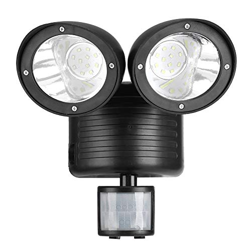 Luci di Inondazione Esterne a LED,Doppia Testa 22 LED Solari,Luce del Sensore di Movimento,Sicurezza Esterna del Riflettore, per Cortile,Garage,Veranda