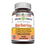 Amazing Formulas Berberine 500mg 120 Capsules - Supports Immune Function, Glucose Metabolism and Cardiovascular & Gastrointestinal Function