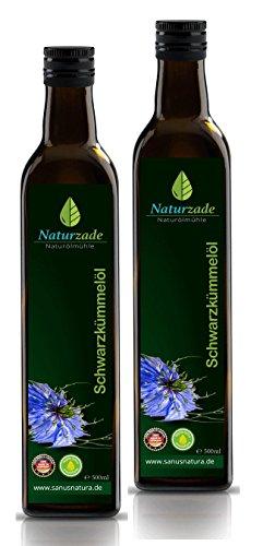 Naturzade Schwarzkümmelöl 1000ml Gefiltert Glasflasche ( 2 x 500ml ), kaltgepresst, direkt vom Hersteller