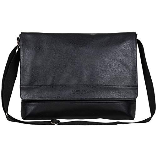 Kenneth Cole REACTION Grand Central Vegan Leather Laptop & Tablet Crossbody Travel Messenger Bag, Black, One Size