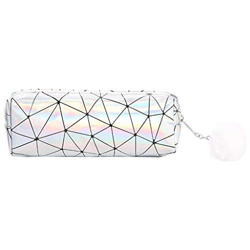 Anjuley - Astuccio olografico iridescente per ragazze, carino, con pompon, per matite / cancelleria argento