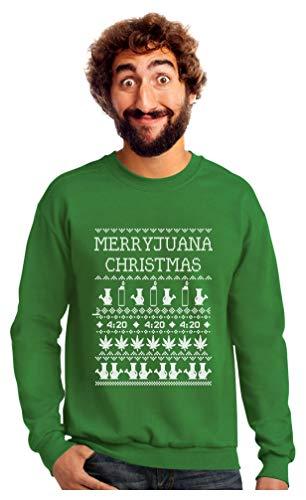 Merryjuana Funny Ugly Christmas Sweater Men'sSweatshirt Large Green