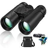 10x42 Binoculars for Adult - Cycvis Bird Watching Binoculars, Compact Binoculars for Hunting & Bird Watching, Waterproof Binoculars with Superior HD Binoculars with Smartphone Holder, Black