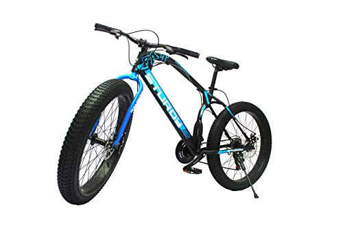 Sturdy Bikes Fat Mountain Bicycle with 26X3 Inch Tires and 21 Speed Gears for Adults - Black & Blue