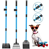 Camroop Dog Pooper Scooper for Large and Small Dogs, Adjustable Telescopic Handle Metal Tray Rake and Spade Poop Scoop Heavy Duty Set for Lawns Grass Dirt Gravel