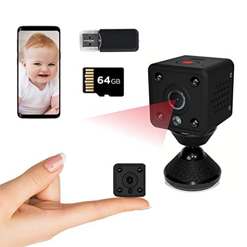 Insygrow  Telecamera Nascosta Con Scheda Sd 64 Gb Inclusa, Spy Cam Sorveglianza Interno/esterno, Mini Telecamera Spia Nascosta Con Visione Notturna, Microcamera Wifi Professionale Senza Fili