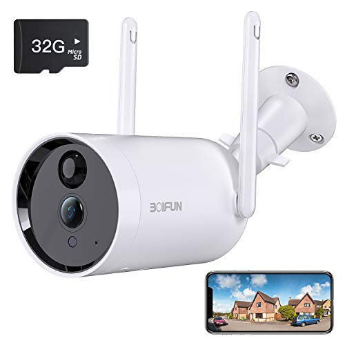 Telecamera WiFi Senza Fili da Esterno,[Scheda SD da 32 GB Installata] BOIFUN Sicurezza Sorveglianza con 10400 mAh Batteria,1080P,Rilevamento del Movimento Umano,Audio Bidirezionale,Visione Notturna