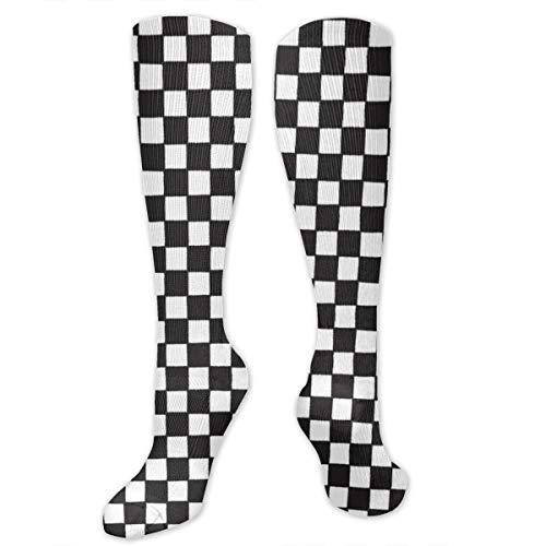 Meiya-Design Calzini lunghi a quadri neri e bianchi ad alte prestazioni, adatti per viaggi, corsa,...