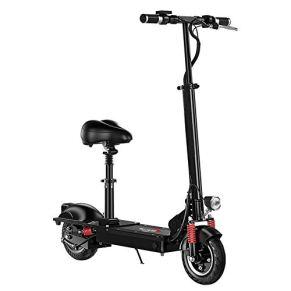 XYDDC Scooter eléctrico - Macizo de 8 Pulgadas - 27.9 mph Asiento extraíble Tráfico portátil Plegable Scooter E-Scooter…