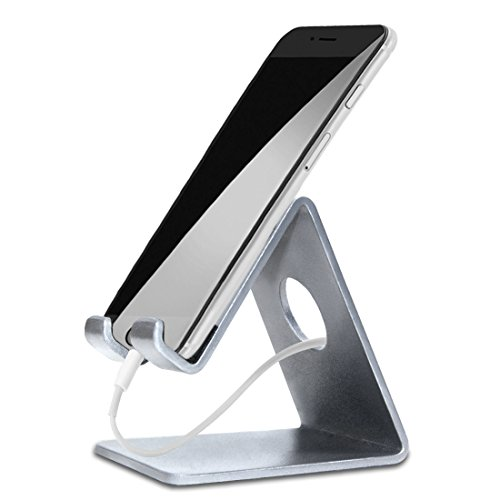 ELV Desktop Cell Phone Stand Tablet Stand, Aluminum Stand Holder for Mobile Phone and Tablet (Up to 10.1 inch) - Silver