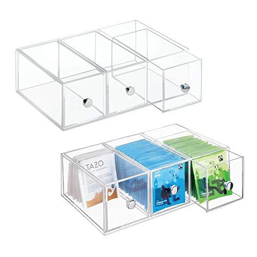 mDesign Minicajonera con 3 cajones de plstico Perfecta como caja para infusiones y bolsitas de t...