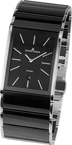 JACQUES LEMANS Herren Analog Quarz Uhr mit Edelstahl Armband 1-1939A