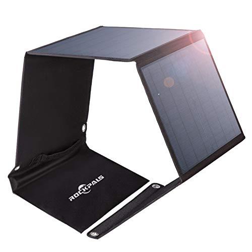 Rockpals ソーラーパネル 50W ソーラーチャージャー 3ポート 高変換効率 折りたたみ式 スマホ ノートパソコン 充電可能