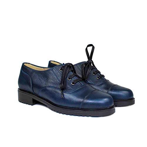 Janet - Oxford Blucher Zapatos Azules de Piel para Mujer - Planos Suela Gruesa Tacon Bajo 3 cm - Cierre Cordoneras - Forro Piel - Mocasines Sport Casual - Vacuno Azul Marino - Azul 38 EU