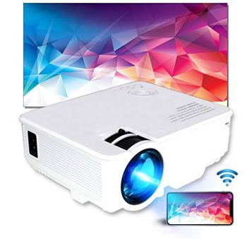 Wi-Fi Projector by Sinometics, Portable LED Projector with Synchronize Screen for iOS Android macOS, Full HD 1080P Supported WiFi Wireless Proyector, Compatible with TV Stick, PS4, DVD, HDMI, USB