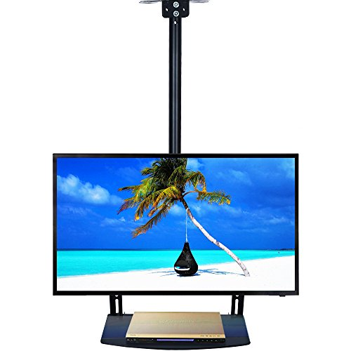 EZCHEER Ceiling TV Mount, 360 Degree Swivel TV Wall Mount Support 175 lbs, Fits 22 to 65' LED, LCD Screen with TV Mount Shelf & Height Adjustable Pole