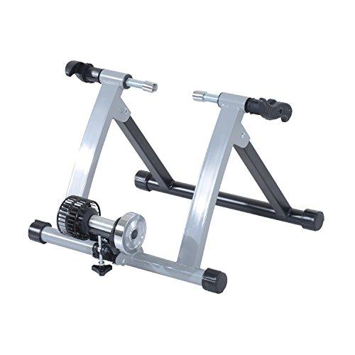 "HOMCOM Rollentrainer Fahrradtrainer Indoor Fahrrad Heimtrainer klappbar Magnetbremse 26\""-28\"" Stahl Silber 54,5 x 47,2 x 39,1 cm"