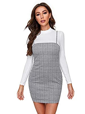 Fabric has some stretch Adjustable spaghetti strap, sleeveless, plaid print, zipper back Short length, slim fit, bodycon Model Measurements: Height:68.1 inch,Bust:33.9 inch,Waist:25.2 inch,Hips:35 inch (In size S) Please refer to the last image of si...