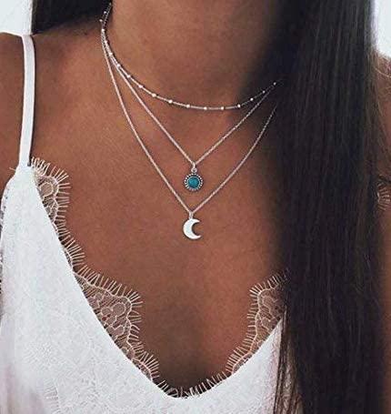 Collana da donna multistrato con pendente Jovono Bohemia con pendente con collana in pietra di luna e pietre blu per donna