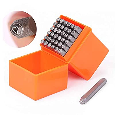 """Professional quality, Chrome Vanadium Steel Perfect for personalizing jewelry and other items Compact size box, won't take up a lot of space Set includes 1 Whimsy Heart and 27 letters (from A - Z) plus the """"&"""" symbol as well as 9 number punches (0 - ..."""