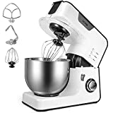OSTBA Stand Mixer, 8-Speed Tilt-head Food Stand Mixer, 5.5 Qt Stainless Steel Electric Kitchen Mixer with Dough Hook, Wire Whip& Beater, Splash Guard, All-Metal Gears Dough Mixer, Cream White