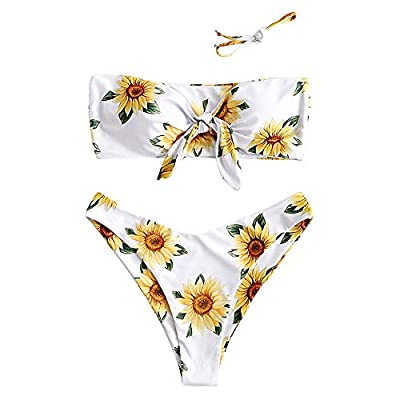 Material: Polyester,Spandex Our Size: S--US 4, M--US 6, L--US 8 Strapless, Removable Strap, Wire Free, Good Elasticity Detailed with sun flower, this bikini set features a top with bandeau silhouette and tie knot details, matching a high cut cheeky b...