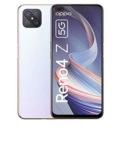 OPPO Reno4 Z 5G Smartphone, 6,57 Zoll 120 Hz Ultra HD Display, 48+8+2+2 MP Kamera, 16 MP Dual Frontkamera, 128 GB ROM/8 GB RAM, [Exklusiv +5EUR Amazon Gutschein], Dew White – Deutsche Version