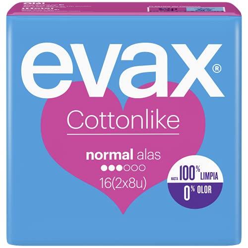 Evax Cottonlike Compresas Normal Plus Con Alas, 16 Unidades,
