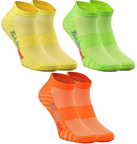 Rainbow Socks - Donna Uomo Calze Sportivi di Cotone - 3 Paia - Arancione Verde Giallo - Taglia 42-43